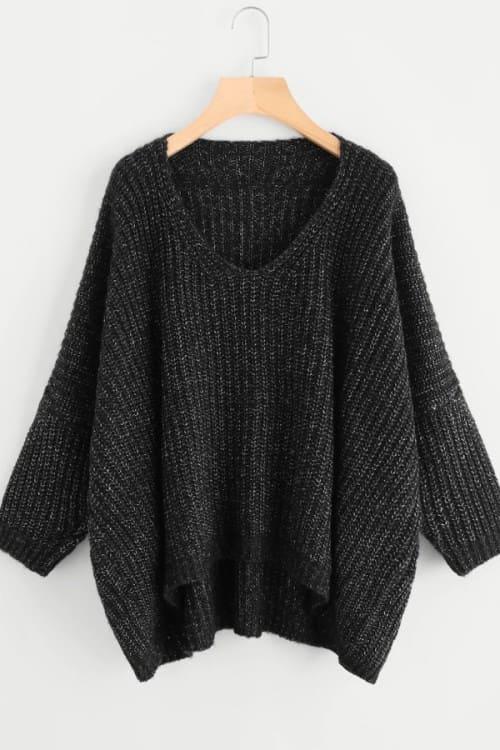 Loose Black Lurex Sweater
