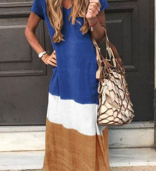 Loose Casual Maxi Dress in blue, white and ocher