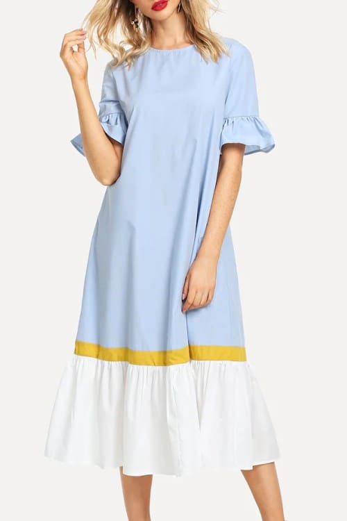 Lovely Sew Ruffle Hem Midi Dress in light blue, white and yellow
