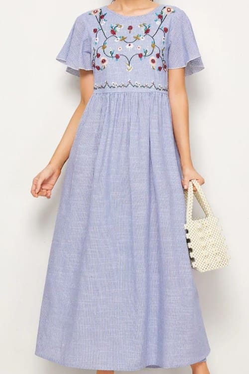 Lovely Striped Embroidered Flower Maxi Dress