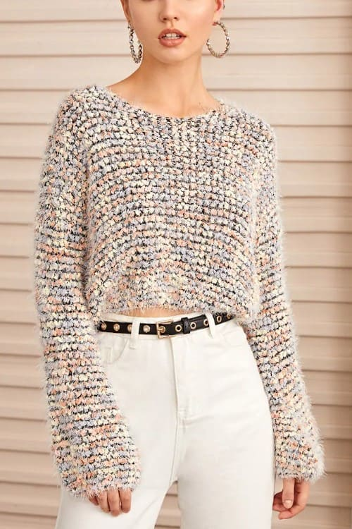 Multi Boucle Knit Crop Sweater