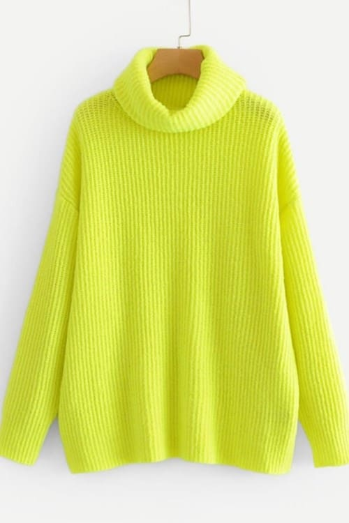 Neon Lime Turtleneck Sweater