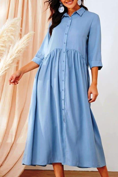 Oversize light blue shirt dress
