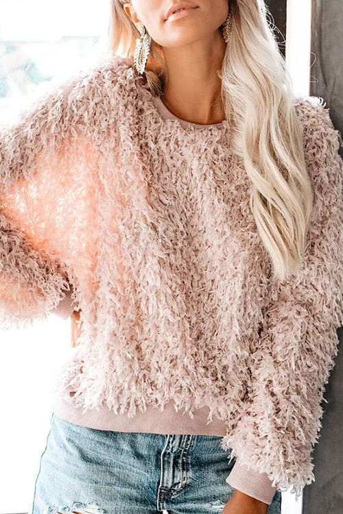 Pink Feathery Thick Sweater