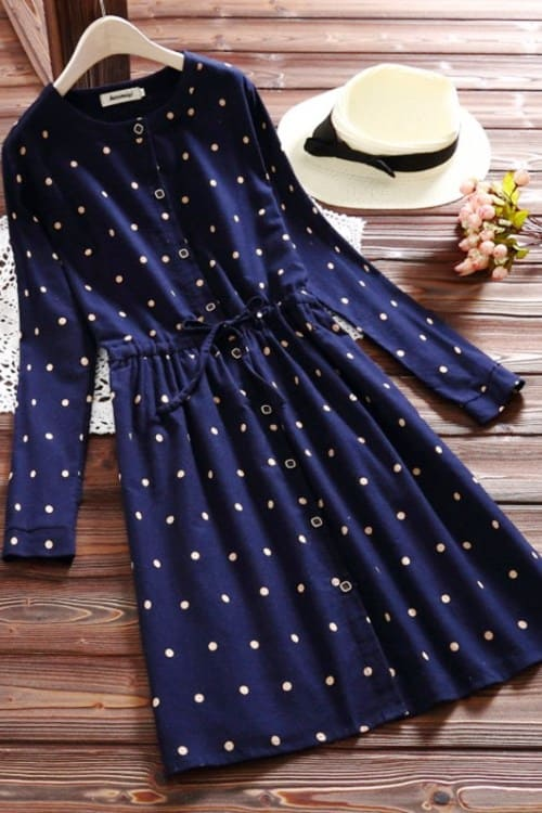 Polka Dot Vintage Dress with Drawstring Waist