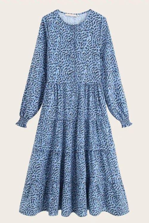 Print High Waist Flared Midi Dress