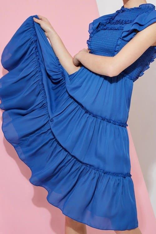 Ruffle and Shirred Detail Blue Midi Dress
