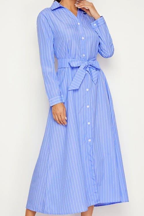 Striped Through Belted Shirt Dress