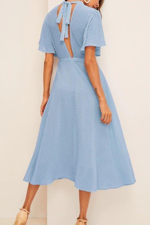 Tie Back Swiss Dot Blue Midi Dress