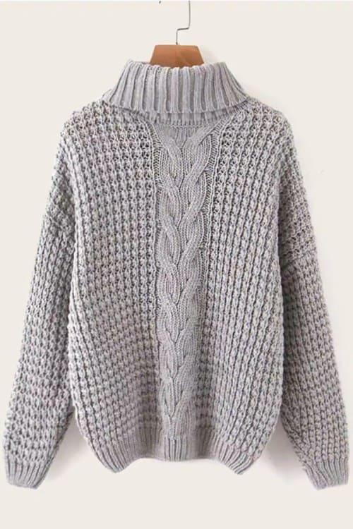 TurtleNeck Grey Irish knit sweater