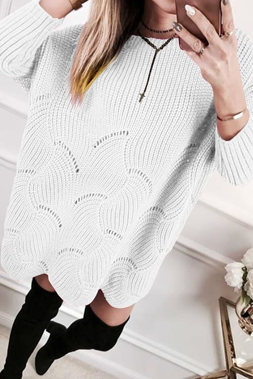 White Knit OverSize Sweater