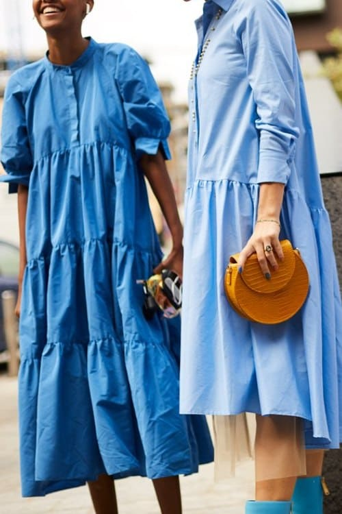 blue maxi dresses in the street style