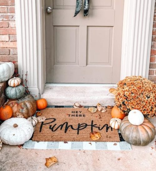 hey there pumpkin fall decor hello welcome mat hand painted cute doormat outdoor doormat