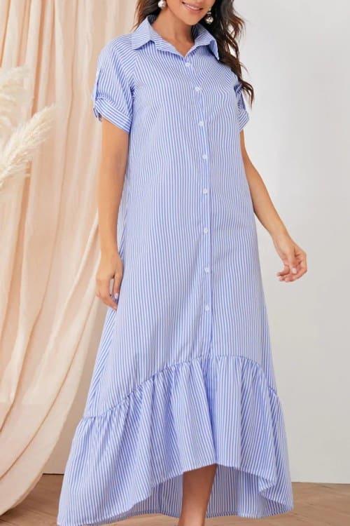 light blue striped shirt maxi dress