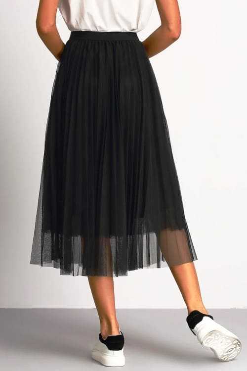 Black Pleated Skirt with elastic waist