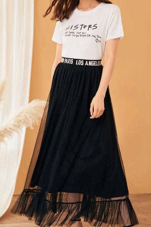 Overlay Pleated Skirt with ruffle hem
