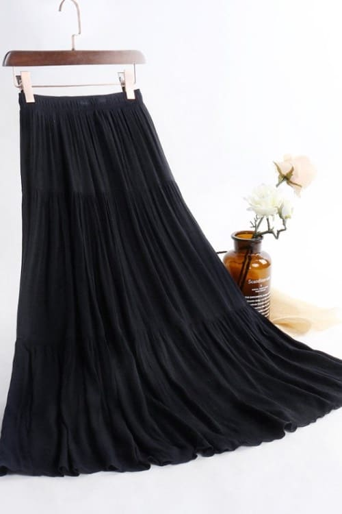 Vintage Pleated Maxi Skirt with elastic waist