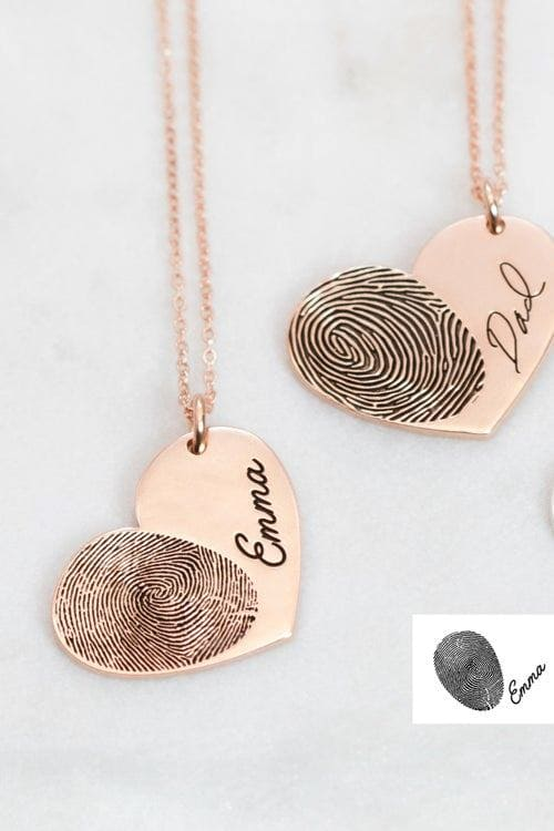 Actual Fingerprint Necklace • Engraved Fingerprint Handwriting Jewelry • Custom Heart Charm • MEMORIAL NECKLACE • Personalized Gift