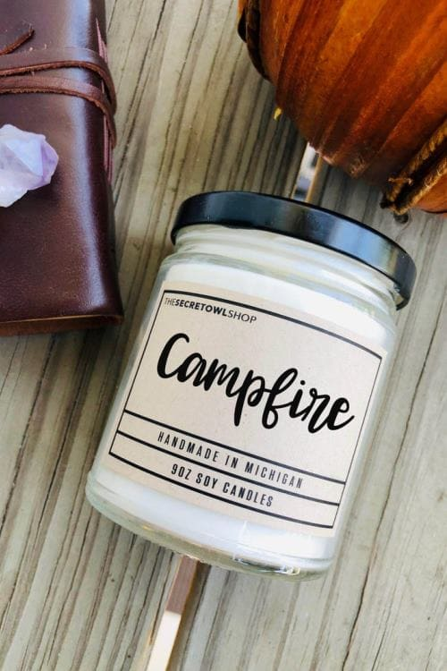 Campfire Scented Soy Candles, Autumn Candle, Camper Gift, Woods Candle, Fireside Candle