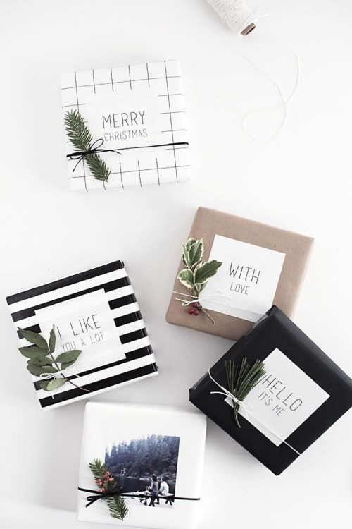 creative handmade holiday gift wrap and tag ideas for Christmas.
