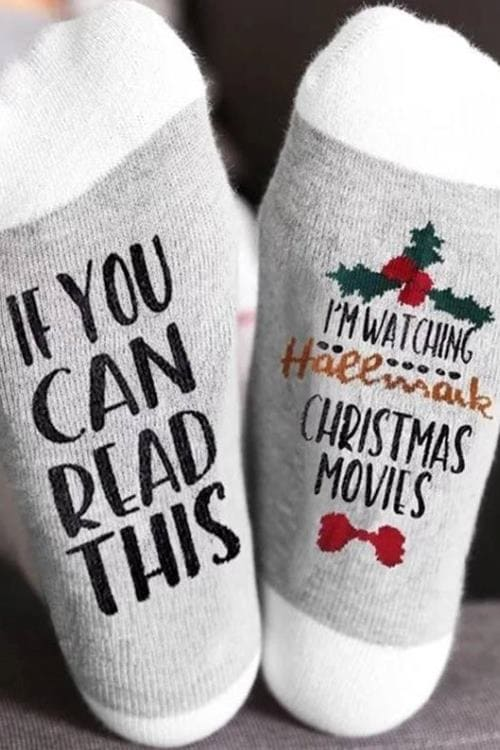 Funny Christmas Hallmark Cotton Socks If You Can Read This I'm Watching Hallmark Christmas Movies Funny Gift