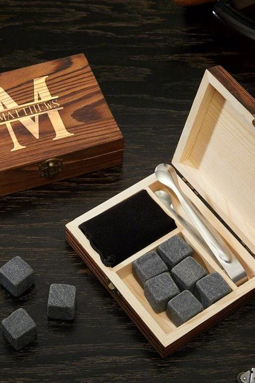 Oakmont Custom Engraved Whiskey Stones Set & Gift Box Perfect for Executives, Bosses, Groomsmen, Dads, Brothers or Wedding Gifts