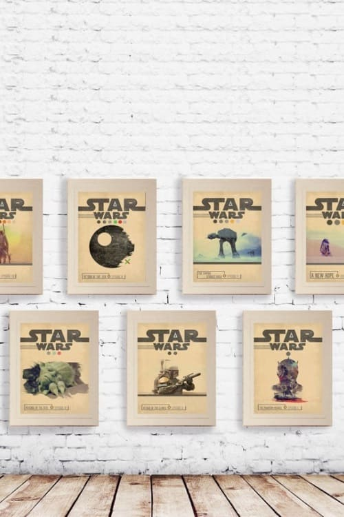 STAR WARS Set of 7 Episode 1 2 3 4 5 6 7 Movie Posters Minimal Movie Posters Wall Art Print Gift For Him , Gift For Her