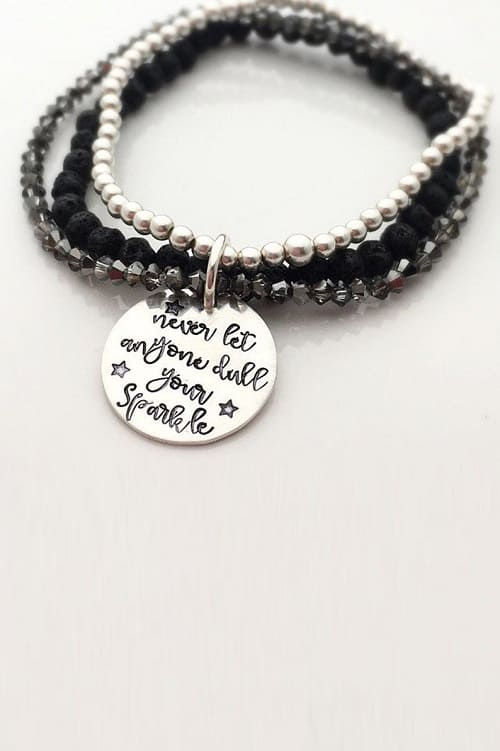 Never let anyone dull your sparkle - Beaded Bracelet Set - Lava Stone Bracelet - Inspirational Gift for her - Encouragement Gift for Woman