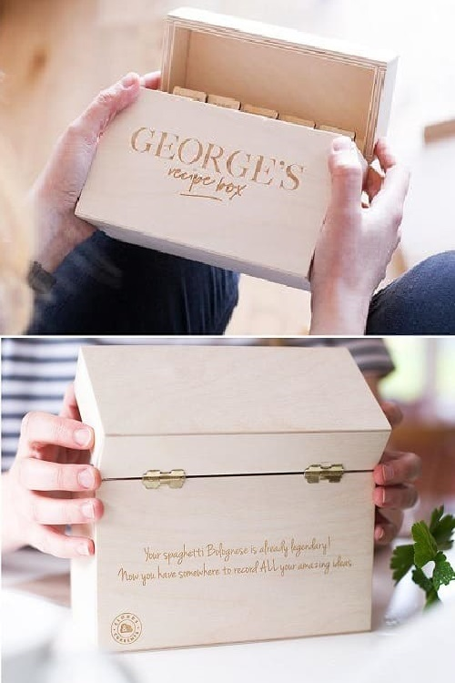 Personalised Wooden Recipe Card Box - Recipe Box - Recipe Box and Cards - Recipe Cards - Food Lover - Cooking Gift - Gift For Bakers1