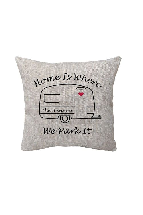 Personalized RV Pillow, RV Decor, Travel Trailer Decor, RV Gift, Happy Camper Gift, Camper Pillow, Home is Where You Park It, Camping Pillow