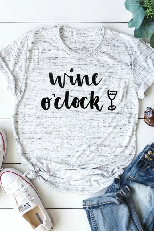 Wine o'clock, Gift for Wine Lover - Funny Wine Tshirt Design for Women - Holiday Tee Shirts - Unisex T-Shirts - Wine Gifts for Women