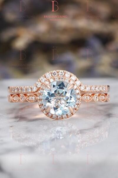 Beautiful Aquamarine Engagement Ring Set Vintage Rose gold