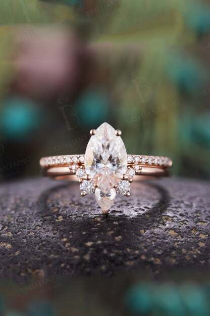Beautiful Moissanite Engagement Ring pear cut Vintage diamond