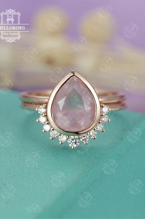Beautiful Rose Quartz Engagement Ring Rose Gold