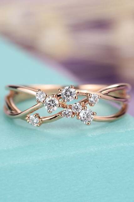 Twig Engagement Ring Rose Gold Floral
