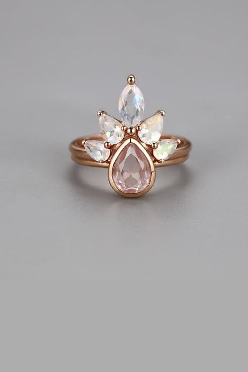 Cute Rose Quartz Engagement Ring Set