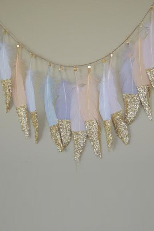 Glitter Feather Garland
