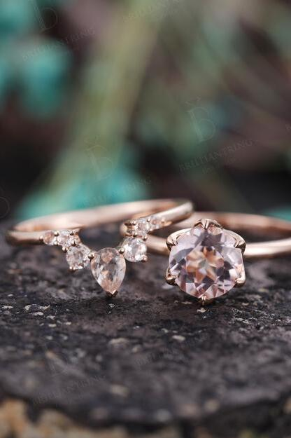 Lovely Morganite Engagement Ring Set