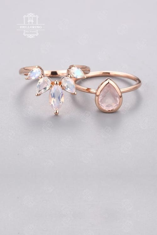 Lovely Rose Quartz Engagement Ring Set