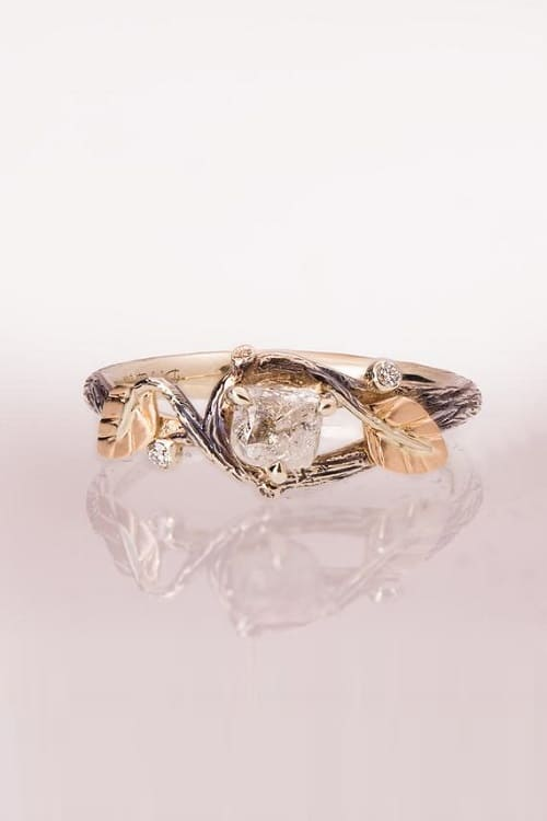 Lovely Rough Diamond Engagement Ring !