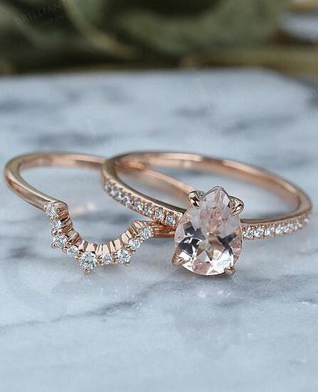 Lovely Vintage Morganite Engagement Ring Set