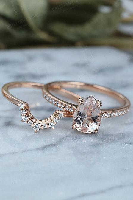 Lovely Vintage Morganite Engagement Ring Set