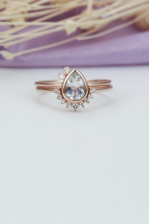 Wow Beautiful Unique Topaz Engagement Ring Rose Gold Pear shaped