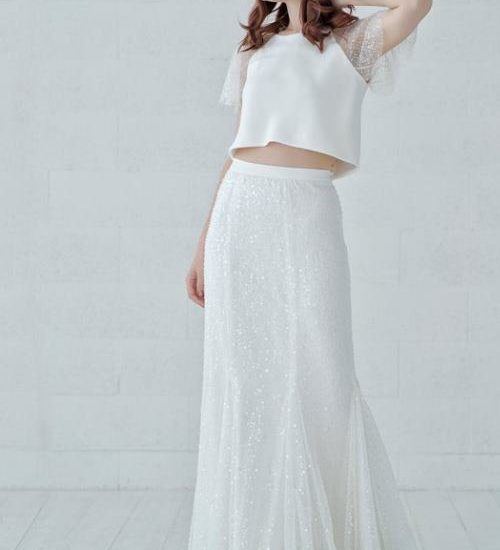 beaded sparkly flapper wedding dress inspired by 20s Gatsby style, fit and flare mermaid skirt and bridal crop top