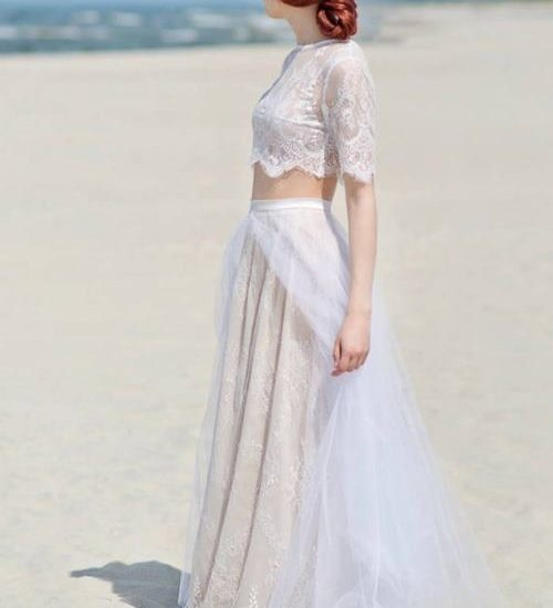 boho hippie beach two piece wedding dress
