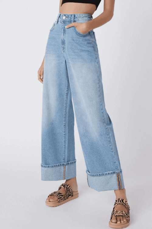 High Waisted Folded Hem Wide Leg Jeans