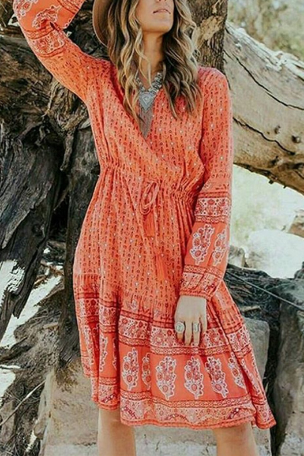 Cute Colored Bohemian Printed Dress with Long Sleeves