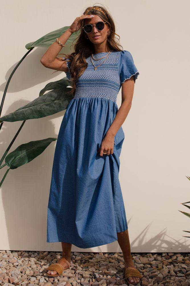 Lovely Bohemian Maxi Dress in light blue with Mexican Style Floral details