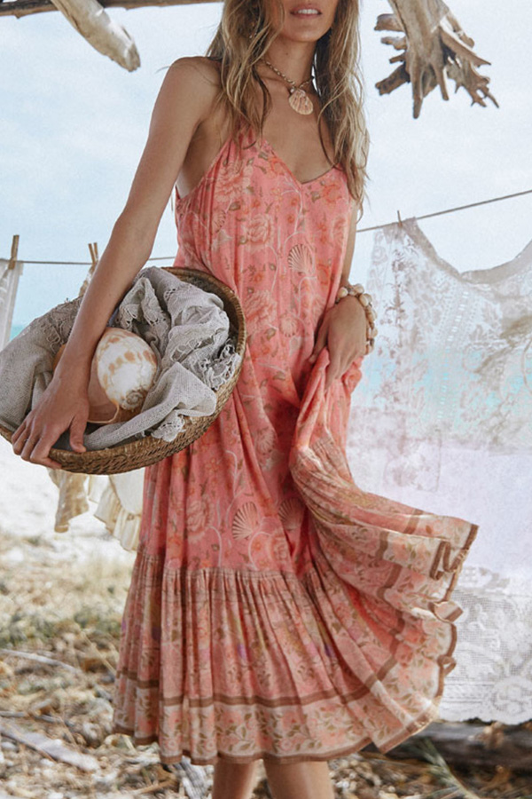 Boho beach midi dress in coral color with printed floral
