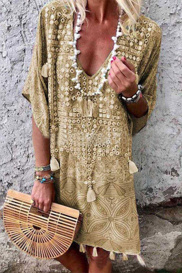 Beautiful Bohemian Casual Loose Dress with pompoms